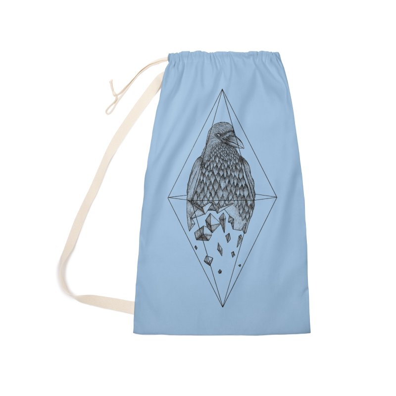 Geometric Crow in a diamond (tattoo style- Black and White version) Accessories Laundry Bag Bag by Beatrizxe