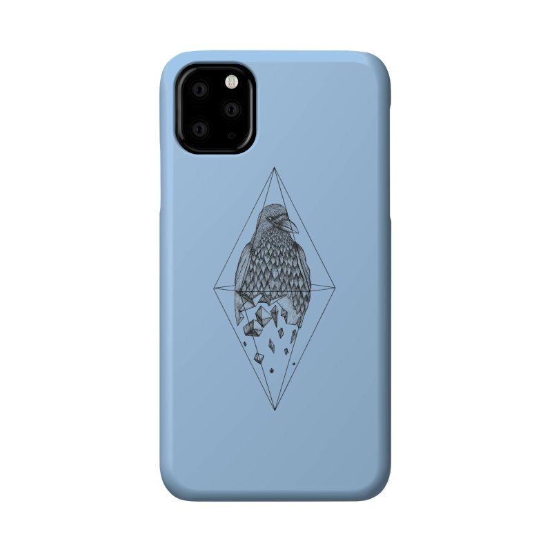 Geometric Crow in a diamond (tattoo style- Black and White version) Accessories Phone Case by Beatrizxe