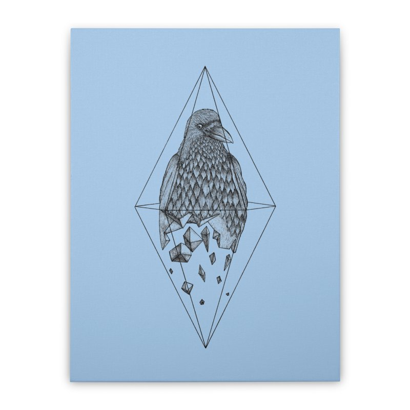 Geometric Crow in a diamond (tattoo style- Black and White version) Home Stretched Canvas by Beatrizxe