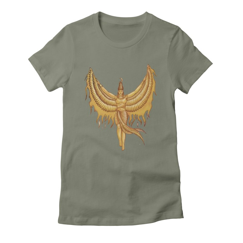 Isis, Goddess Egypt with wings of the legendary bird Phoenix Women's Fitted T-Shirt by Beatrizxe