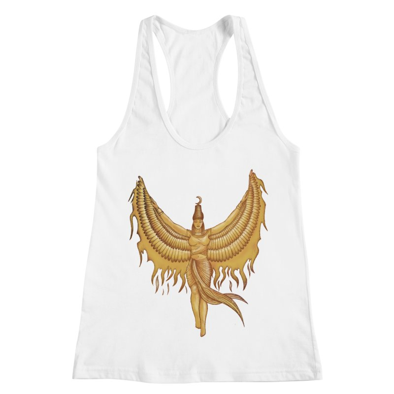Isis, Goddess Egypt with wings of the legendary bird Phoenix Women's Racerback Tank by Beatrizxe