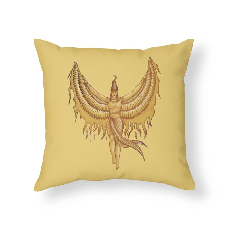Isis, Goddess Egypt with wings of the legendary bird Phoenix Home Throw Pillow by Beatrizxe