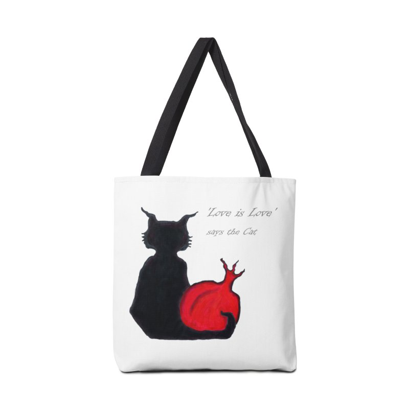 Love is Love, says the Cat Accessories Tote Bag Bag by Brigitte Doernerova - Imaginista Designs