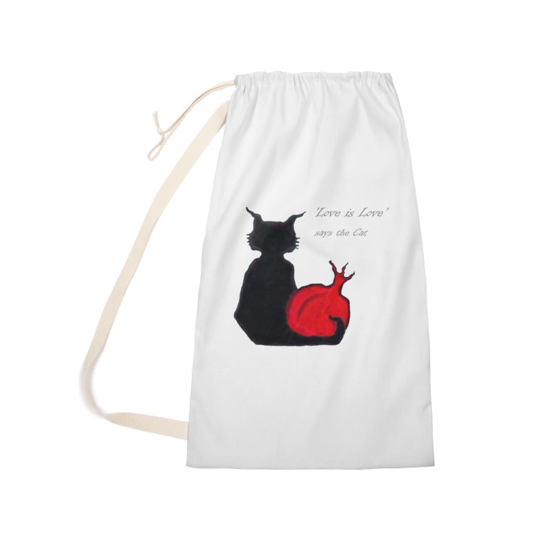 Love is Love, says the Cat Accessories Laundry Bag Bag by Brigitte Doernerova - Imaginista Designs