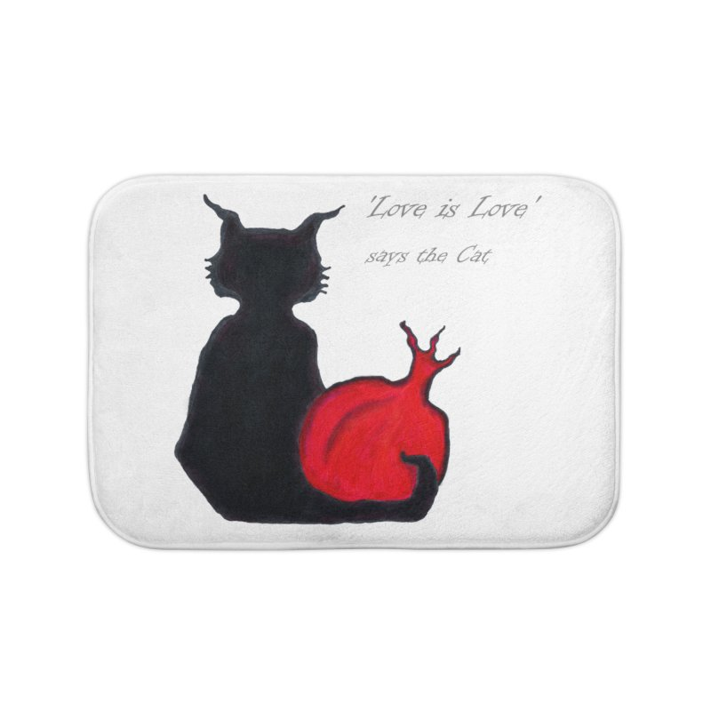 Love is Love, says the Cat Home Bath Mat by Brigitte Doernerova - Imaginista Designs