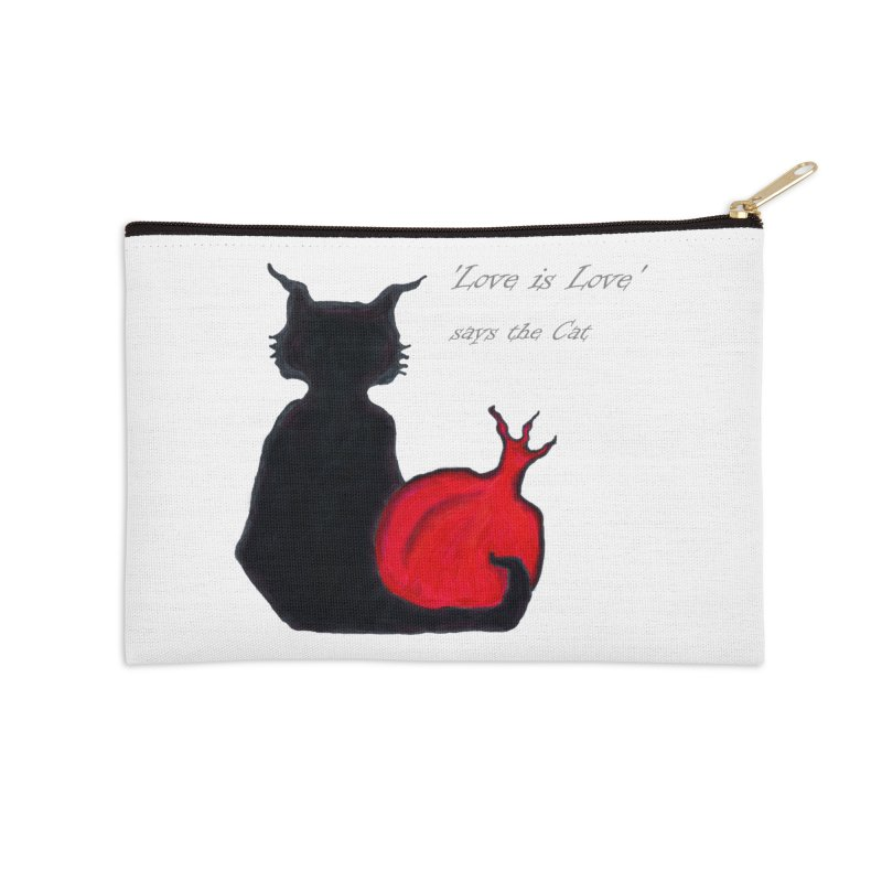Love is Love, says the Cat Accessories Zip Pouch by Brigitte Doernerova - Imaginista Designs