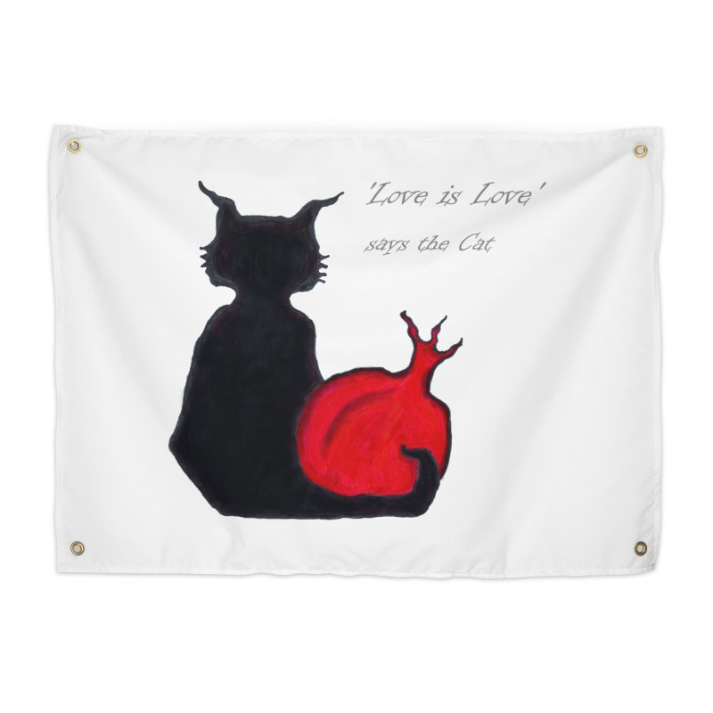 Love is Love, says the Cat Home Tapestry by Brigitte Doernerova - Imaginista Designs
