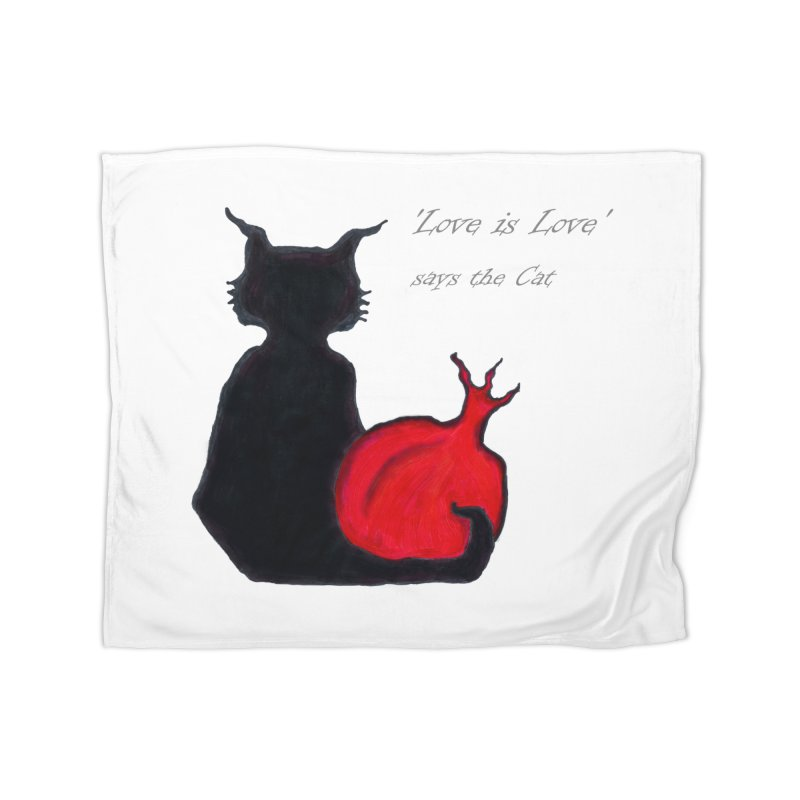 Love is Love, says the Cat Home Blanket by Brigitte Doernerova - Imaginista Designs