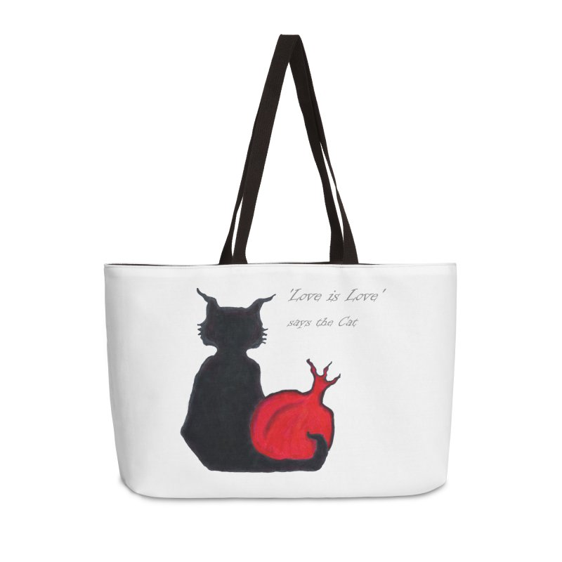 Love is Love, says the Cat Accessories Weekender Bag Bag by Brigitte Doernerova - Imaginista Designs