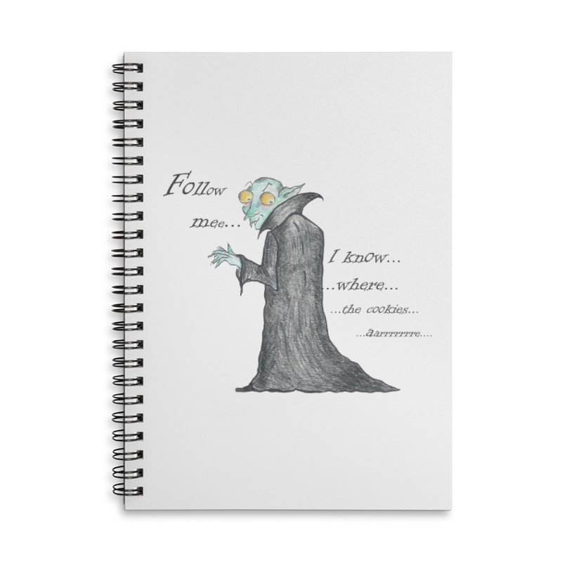 Follow Me, says the Vampire Accessories Lined Spiral Notebook by Brigitte Doernerova - Imaginista Designs