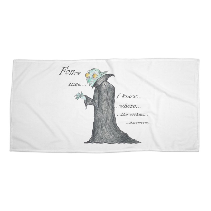 Follow Me, says the Vampire Accessories Beach Towel by Brigitte Doernerova - Imaginista Designs