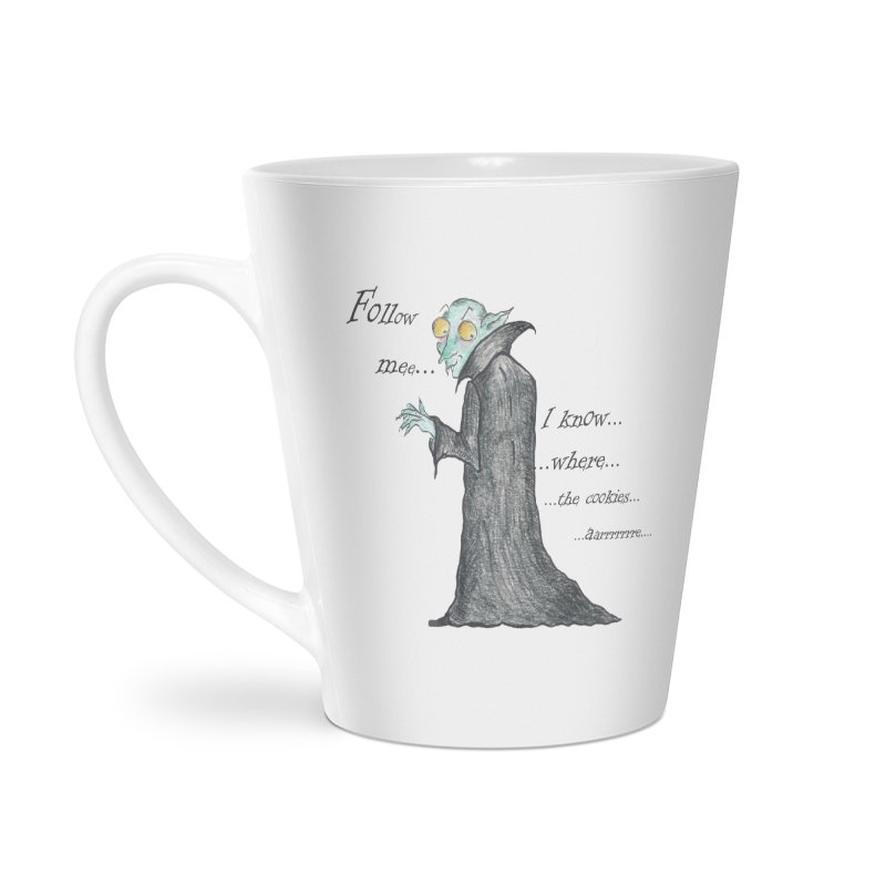 Follow Me, says the Vampire Accessories Latte Mug by Brigitte Doernerova - Imaginista Designs