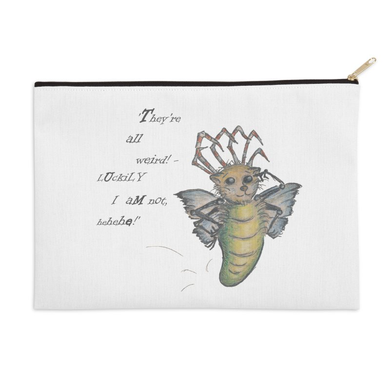 They're All Weird, says the Mockmoth Accessories Zip Pouch by Brigitte Doernerova - Imaginista Designs