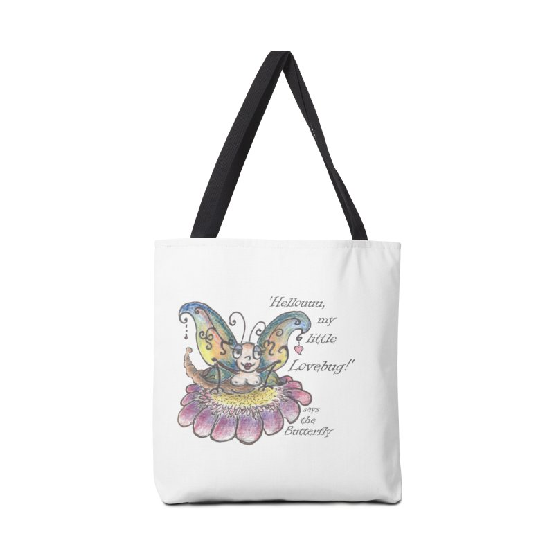 Hello, my little Lovebug, says the Butterfly Accessories Tote Bag Bag by Brigitte Doernerova - Imaginista Designs