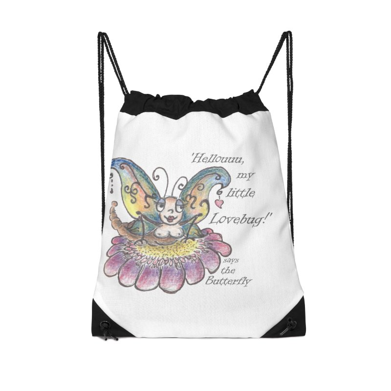 Hello, my little Lovebug, says the Butterfly Accessories Drawstring Bag Bag by Brigitte Doernerova - Imaginista Designs