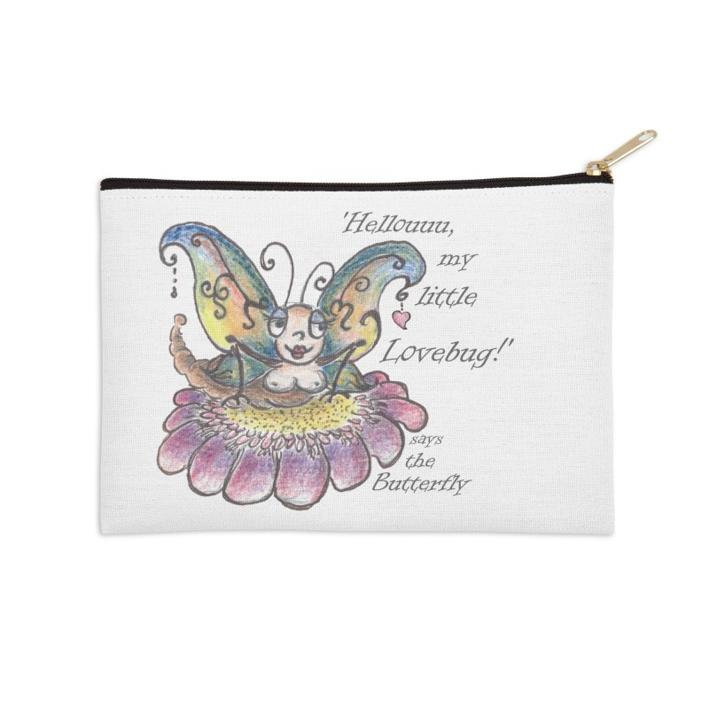 Hello, my little Lovebug, says the Butterfly Accessories Zip Pouch by Brigitte Doernerova - Imaginista Designs