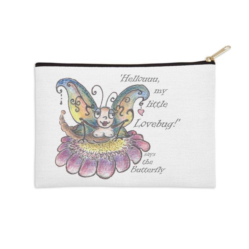 Hello, my little Lovebug, says the Butterfly Accessories Zip Pouch by Brigitte Doernerova - Imaginista Designs