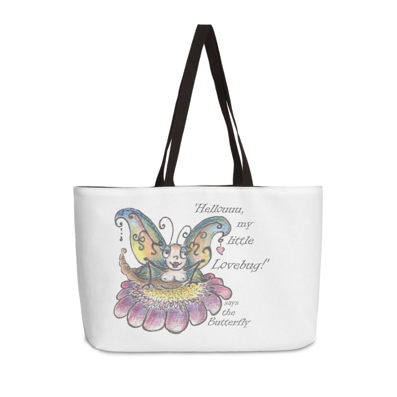 Hello, my little Lovebug, says the Butterfly Accessories Weekender Bag Bag by Brigitte Doernerova - Imaginista Designs