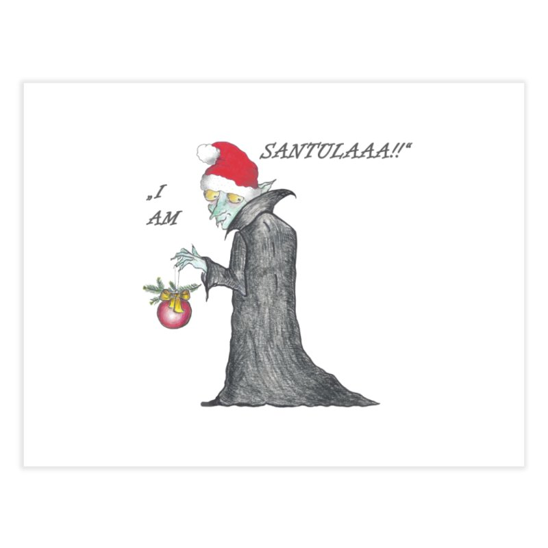 I Am Santula! - Says the Vampire, X-mas Edition Home Fine Art Print by Brigitte Doernerova - Imaginista Designs