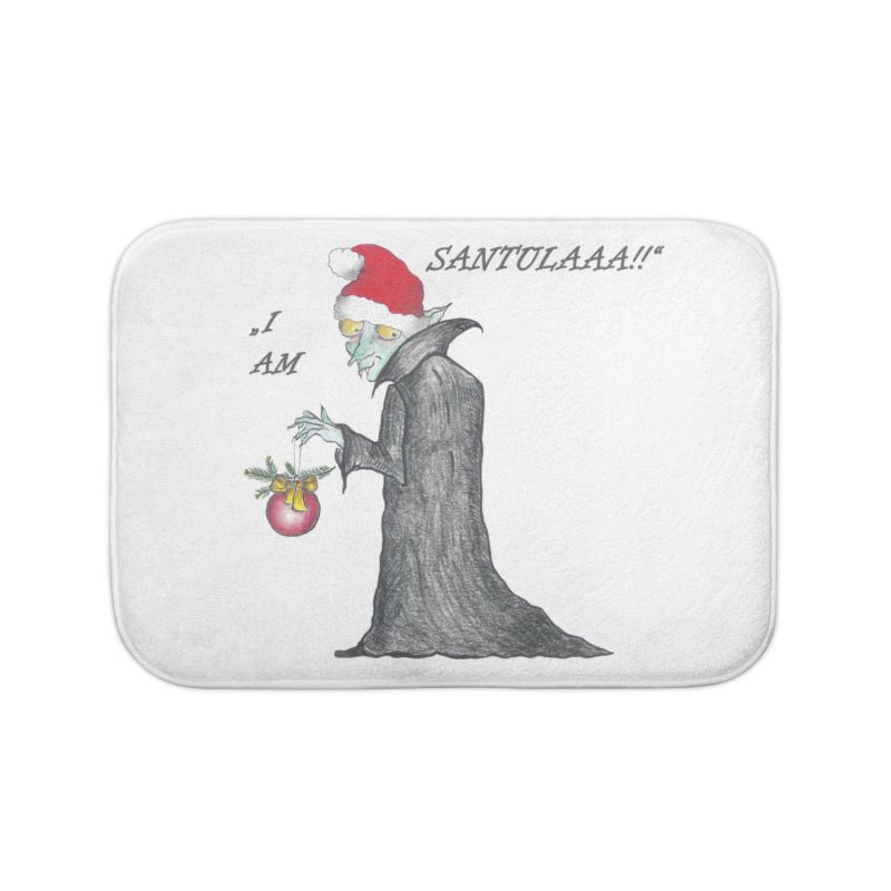 I Am Santula! - Says the Vampire, X-mas Edition Home Bath Mat by Brigitte Doernerova - Imaginista Designs
