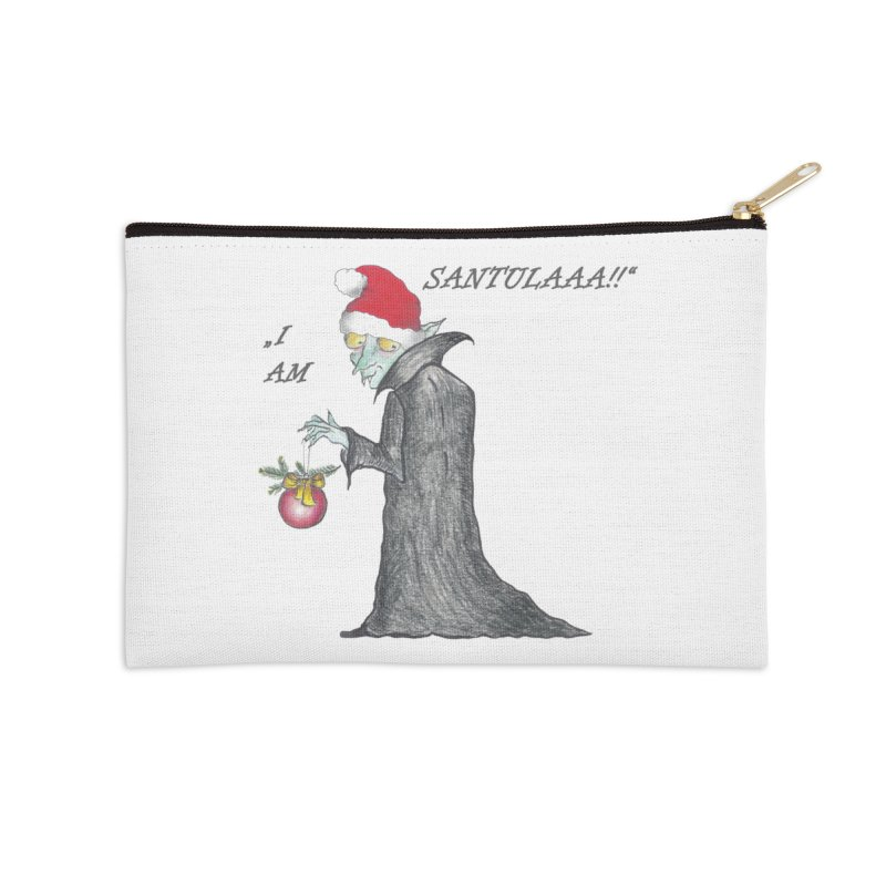 I Am Santula! - Says the Vampire, X-mas Edition Accessories Zip Pouch by Brigitte Doernerova - Imaginista Designs