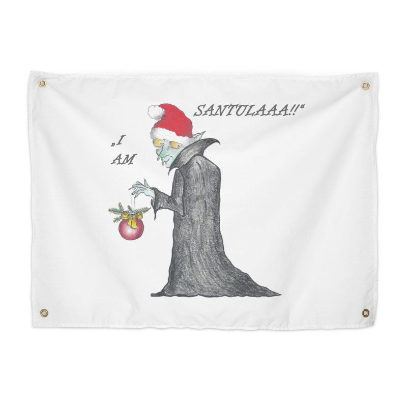 I Am Santula! - Says the Vampire, X-mas Edition Home Tapestry by Brigitte Doernerova - Imaginista Designs