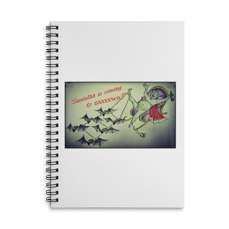 Santula Is Coming To Town, version 2 Accessories Lined Spiral Notebook by Brigitte Doernerova - Imaginista Designs
