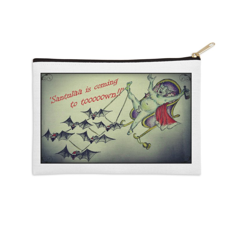 Santula Is Coming To Town, version 2 Accessories Zip Pouch by Brigitte Doernerova - Imaginista Designs