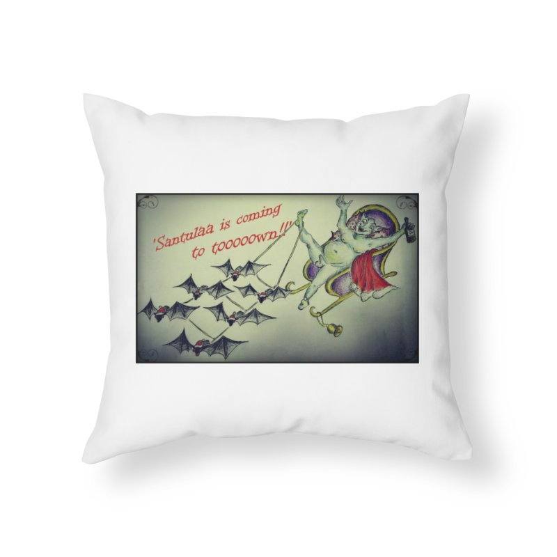 Santula Is Coming To Town, version 2 Home Throw Pillow by Brigitte Doernerova - Imaginista Designs