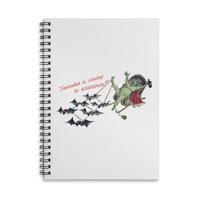 Santula Is Coming To Town, version 1 Accessories Lined Spiral Notebook by Brigitte Doernerova - Imaginista Designs