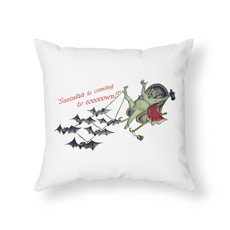Santula Is Coming To Town, version 1 Home Throw Pillow by Brigitte Doernerova - Imaginista Designs