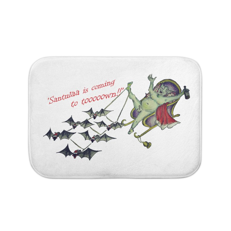 Santula Is Coming To Town, version 1 Home Bath Mat by Brigitte Doernerova - Imaginista Designs