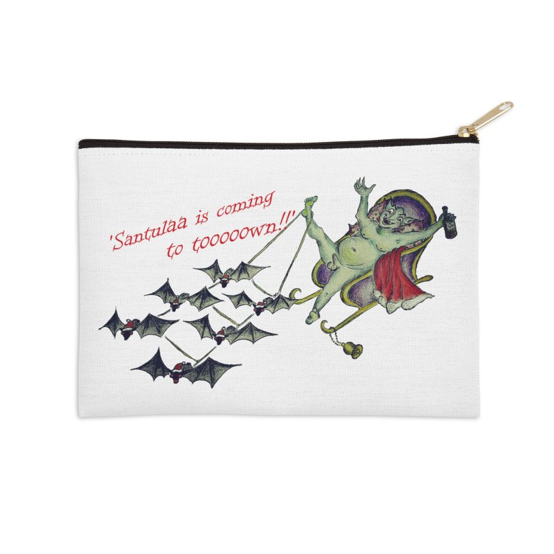 Santula Is Coming To Town, version 1 Accessories Zip Pouch by Brigitte Doernerova - Imaginista Designs
