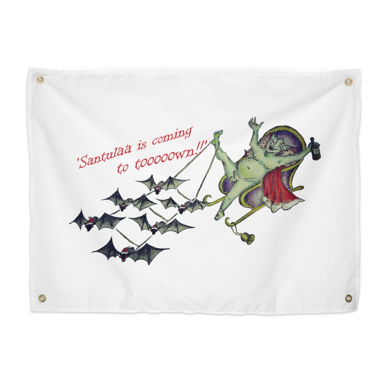 Santula Is Coming To Town, version 1 Home Tapestry by Brigitte Doernerova - Imaginista Designs
