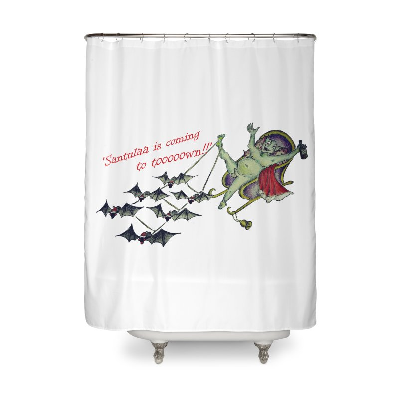 Santula Is Coming To Town, version 1 Home Shower Curtain by Brigitte Doernerova - Imaginista Designs