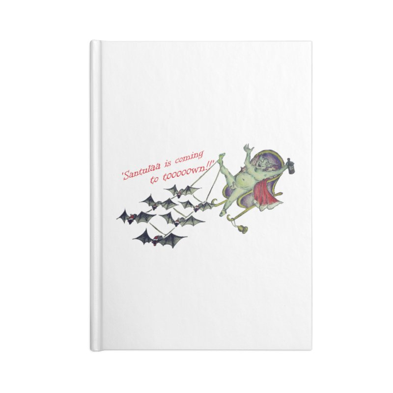 Santula Is Coming To Town, version 1 Accessories Lined Journal Notebook by Brigitte Doernerova - Imaginista Designs