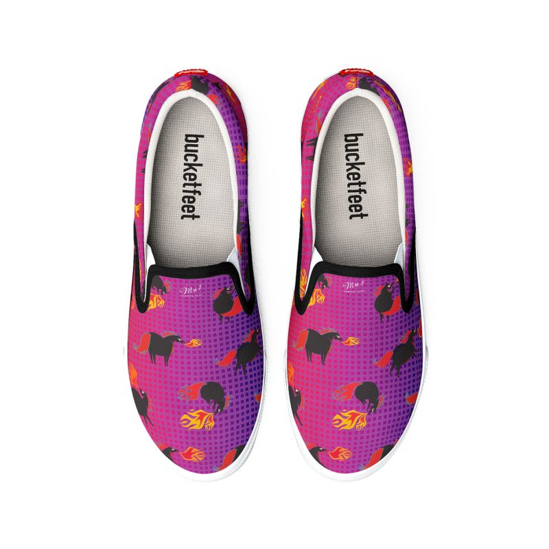 Fire Breathing Pony Slip-ons Men's Shoes by Designs by Meredith N.