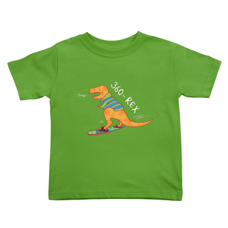 360-Rex Dinosaur Snowboarding Kids Toddler T-Shirt by Designs by Meredith N.