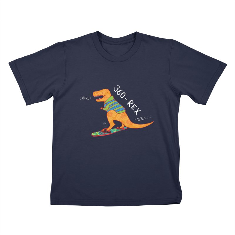 360-Rex Dinosaur Snowboarding Kids T-Shirt by Designs by Meredith N.