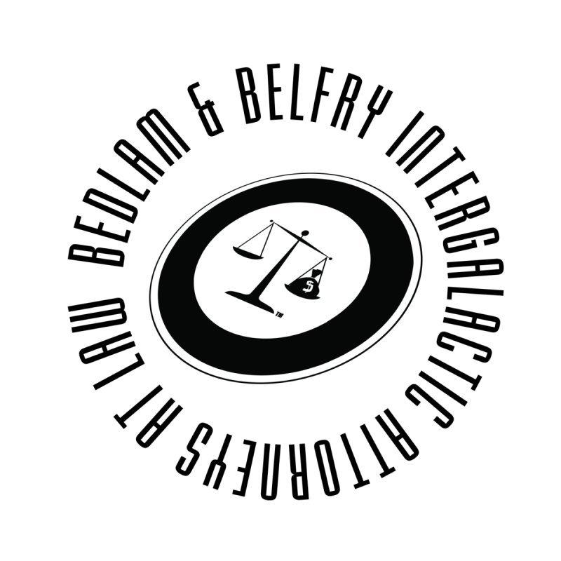 Bedlam & Belfry, Intergalactic Attorneys at Law tilted logo Men's T-Shirt by Bedlam & Belfry's Artist Shop