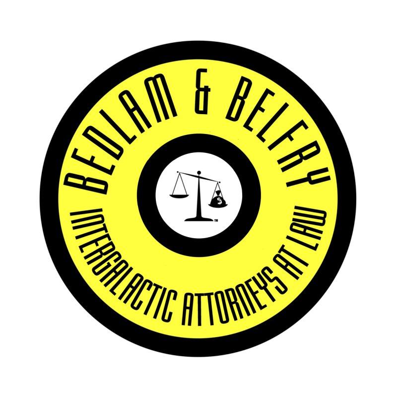 Bedlam & Belfry, Intergalactic Attorneys at Law yellow logo Men's T-Shirt by Bedlam & Belfry's Artist Shop