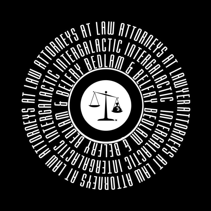 Bedlam & Belfry, Intergalactic Attorneys at Law concentric logo black Women's T-Shirt by Bedlam & Belfry's Artist Shop