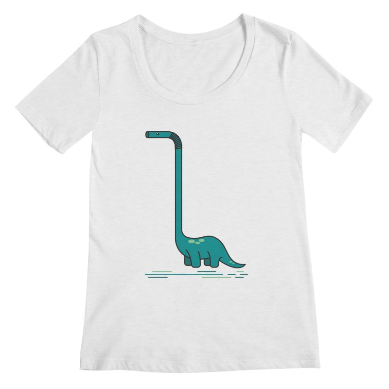 Dinostraw Women's Regular Scoop Neck by Beers All Round