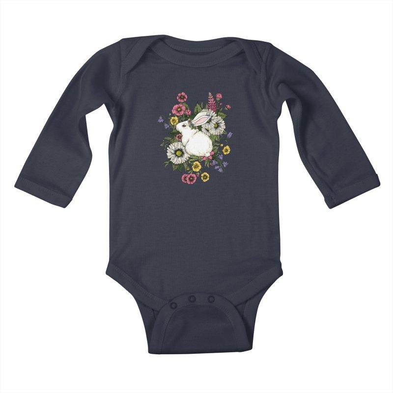 Rabbit In Flowers Kids Baby Longsleeve Bodysuit by BeesAnts's Artist Shop