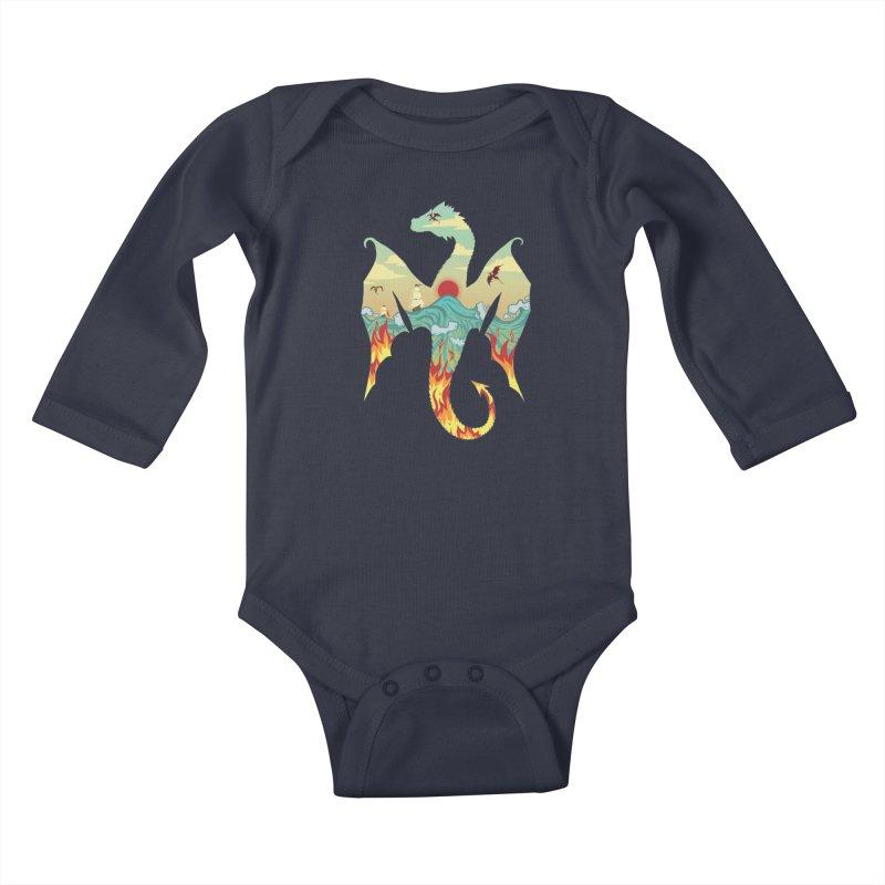 Dragons Kids Baby Longsleeve Bodysuit by BeesAnts's Artist Shop