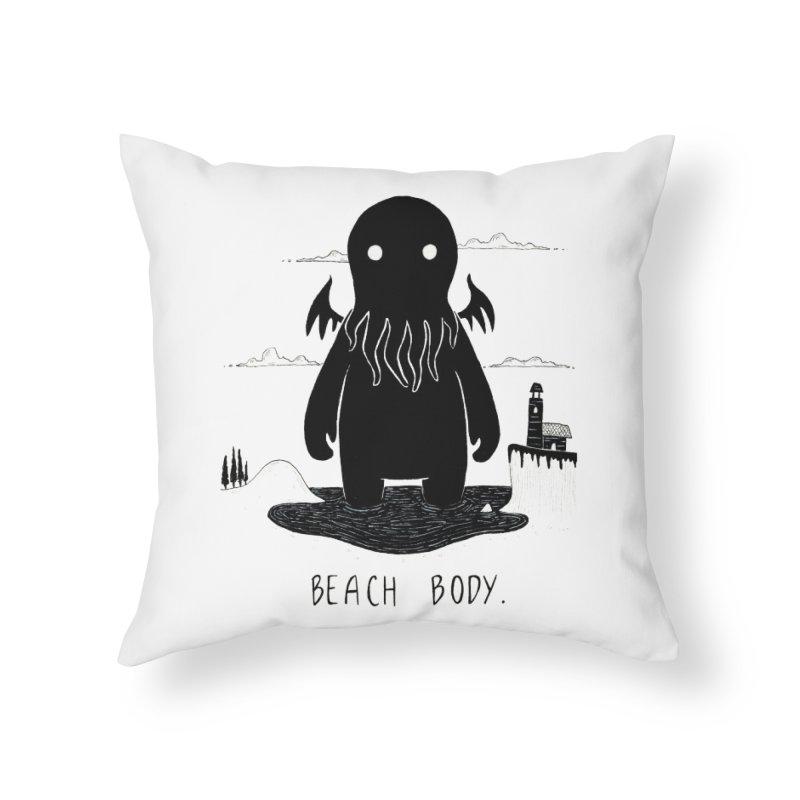 Beach Body Home Throw Pillow by Behemot's doodles
