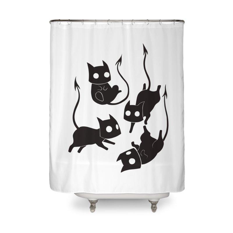 Demon Cats Home Shower Curtain by Behemot's doodles