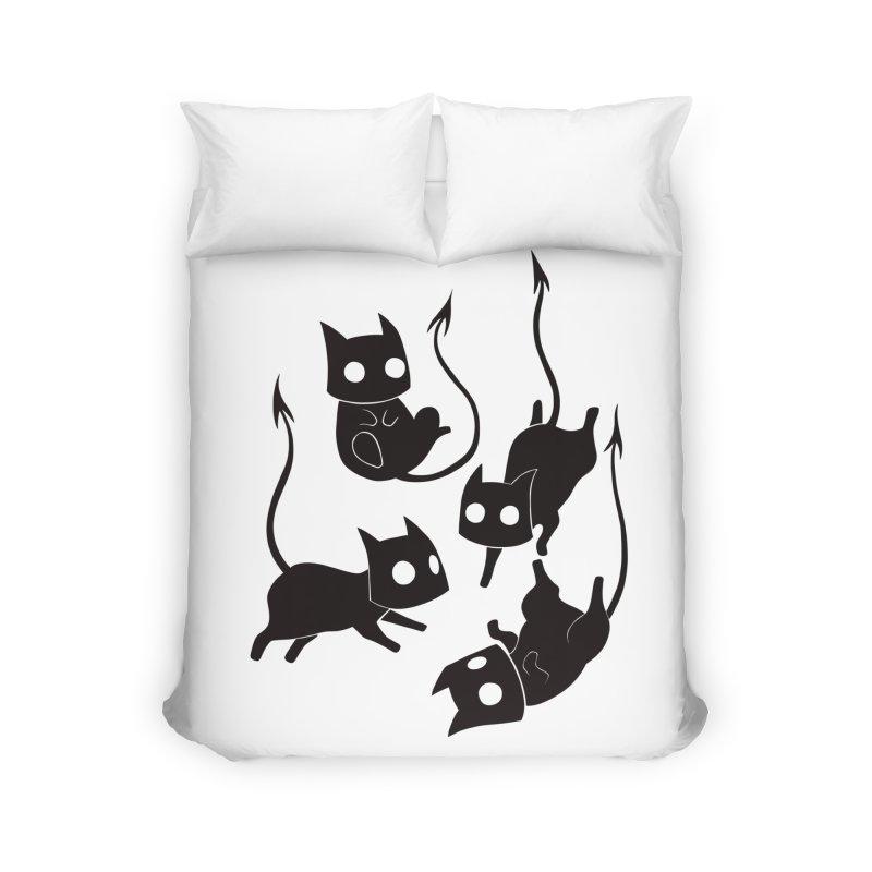Demon Cats Home Duvet by Behemot's doodles