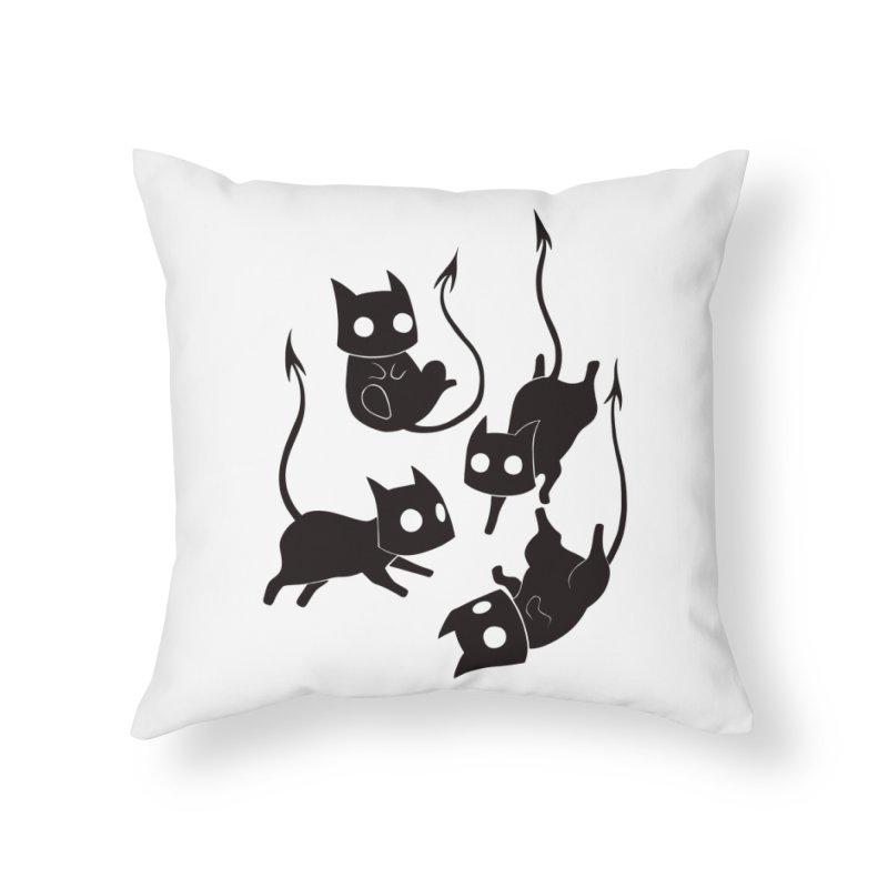 Demon Cats Home Throw Pillow by Behemot's doodles