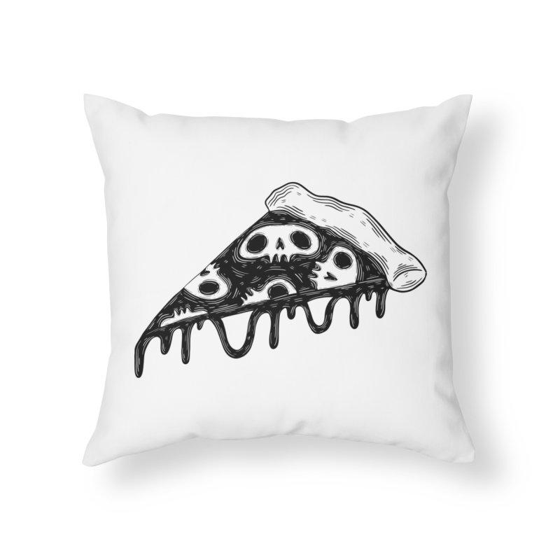 Skull pizza Home Throw Pillow by Behemot's doodles